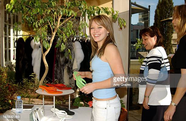 Hilary Duff looking at Sigerson Morrison shoes during Frederic Fekkai Oscar Beauty and Fashion Suite at Frederic Fekkai in Beverly Hills California...
