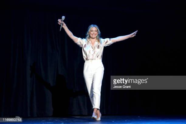 Hilary Duff of 'Lizzie McGuire' took part today in the Disney Showcase at Disney's D23 EXPO 2019 in Anaheim Calif 'Lizzie McGuire' will stream...