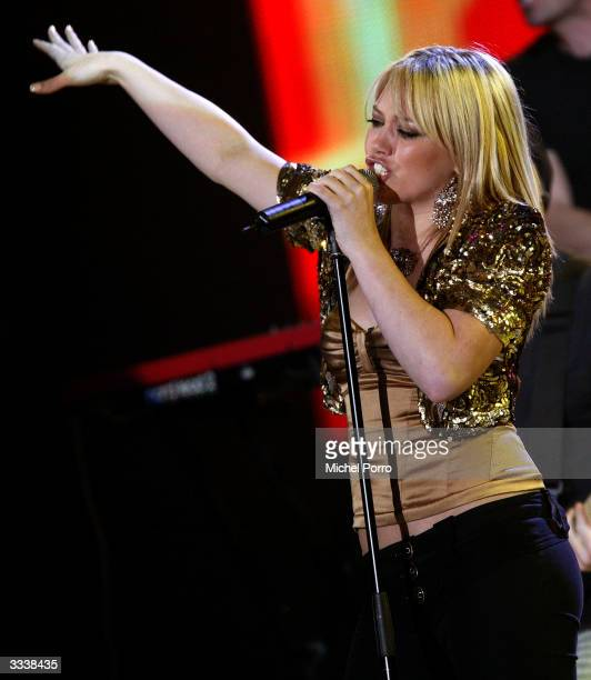Hilary Duff performs at the TMF awards on April 10 2004 in Rotterdam Holland Duff has been awarded Best Upcoming International Artist