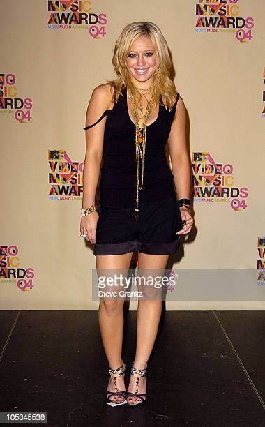 Hilary Duff presenter of Best Rap Video during 2004 MTV Video Music Awards Press Room at American Airlines Arena in Miami Florida United States