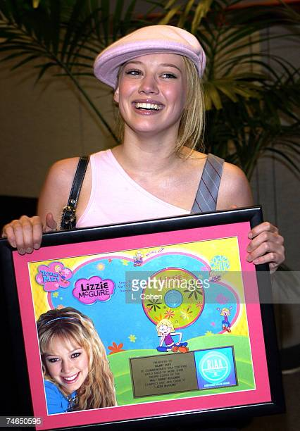 Hilary Duff receives her Gold Record Award for ''Lizzie McGuire'' Soundtrack CD at the Private Office in Los Angeles California