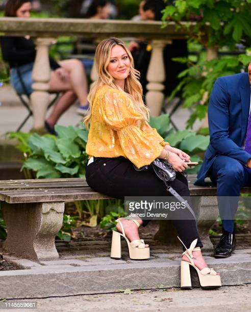 Hilary Duff seen on the set of 'Younger' in Bryant Park on May 22 2019 in New York City