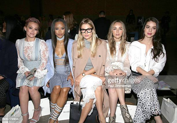 Hilary Duff Serayah Jessica Hart Zella Day and Adelaide Kane attend Zimmermann Front Row Fall 2016 New York Fashion Week at ArtBeam on February 12...