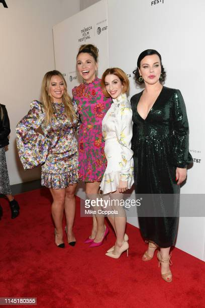 Hilary Duff Sutton Foster Molly Kate Bernard and Debi Mazar pose for a photo at Tribeca TV Younger at Spring Studio on April 25 2019 in New York City
