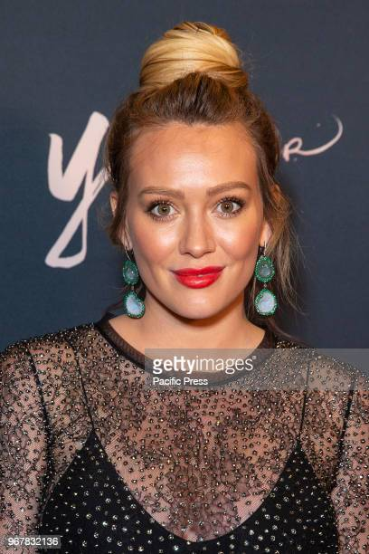 Hilary Duff wearing dress by Chloe attends Younger Season 5 Premiere Party at Cecconi Dumbo