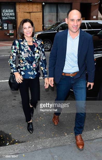 Hilary Farr and David Visentin are seen outside the Today show on September 16, 2019 in New York City.