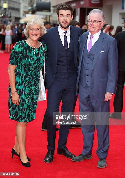 Hilary Gish Jack Whitehall and Michael Whitehall attend the World Premiere of 'The Bad Education Movie' at Vue West End on August 20 2015 in London...