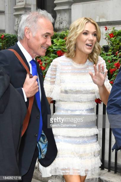 Hilary Jones and Charlotte Hawkins arrive at The TRIC Awards 2021 at 8 Northumberland Avenue on September 15, 2021 in London, England.