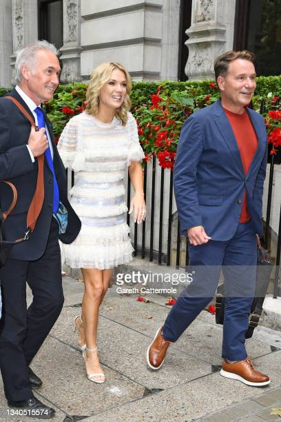 Hilary Jones, Charlotte Hawkins and Richard Arnold arrive at The TRIC Awards 2021 at 8 Northumberland Avenue on September 15, 2021 in London, England.