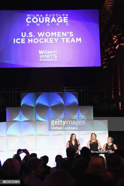 Hilary Knight Meghan Duggan and Brianna Decker attend The Women's Sports Foundation's 38th Annual Salute To Women in Sports Awards Gala on October 18...