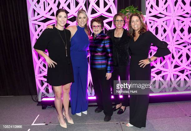 Hilary Knight Meghan Duggan Billie Jean King Mary Carillo and Julie Foudy pose for a photo onstage during The Women's Sports Foundation's 39th Annual...