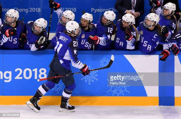 Hilary Knight of the United States celebrates after scoring a powerplay goal against Canada in the first period during the Women's Gold Medal Game on...