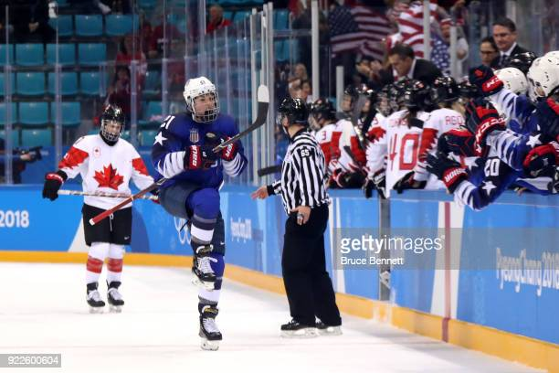 Hilary Knight of the United States celebrates after scoring a power play goal against Canada in the first period during the Women's Gold Medal Game...