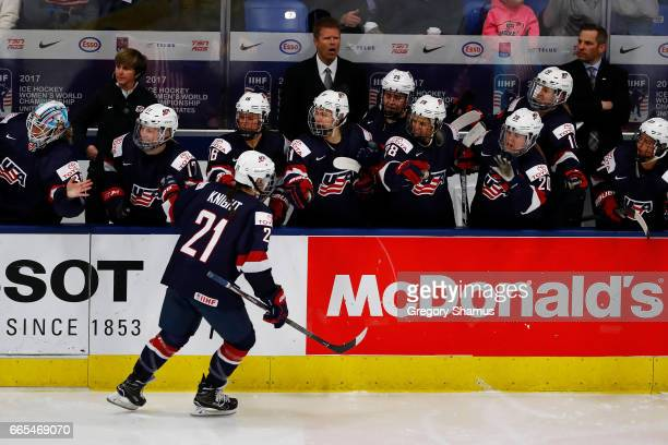 Hilary Knight of the United States celebrates her firstperiod goal with teammates while playing Germany during a semifinal game at the 2017 IIHF...