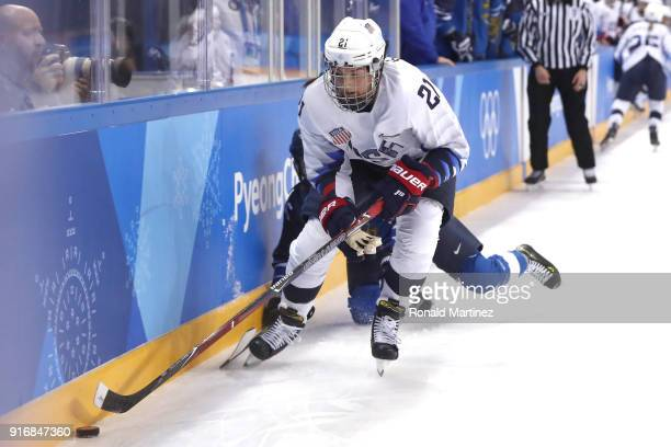 Hilary Knight of the United States in action during the Women's Ice Hockey Preliminary Round Group A game against Finland on day two of the...