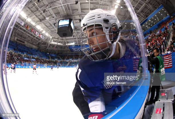 Hilary Knight of the United States skates along the boards in the second period against Canada during the Women's Gold Medal Game on day thirteen of...