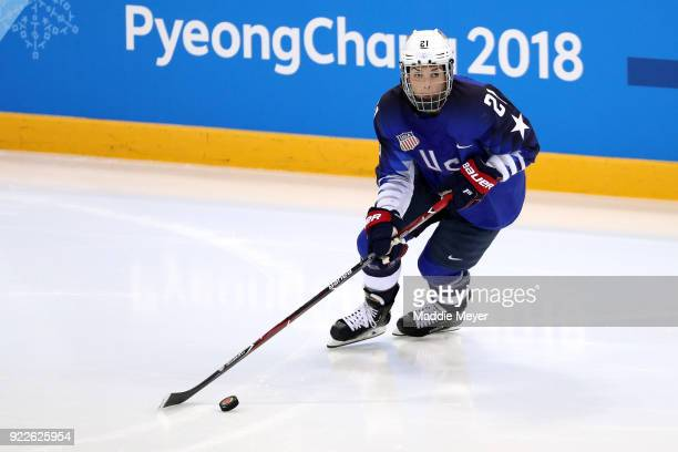 Hilary Knight of the United States skates with the puck in the third period against Canada during the Women's Gold Medal Game on day thirteen of the...