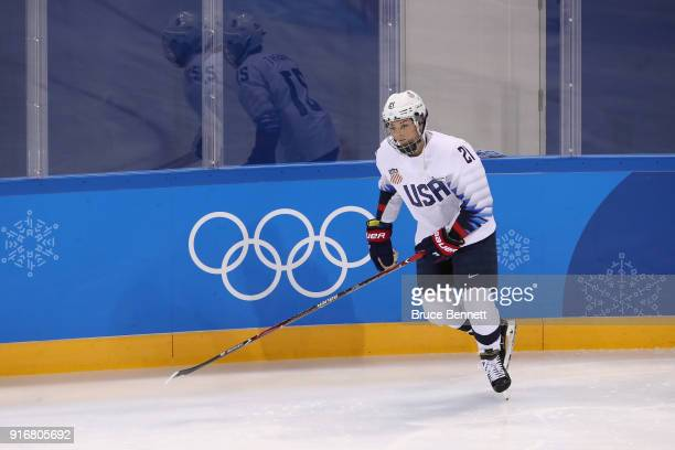 Hilary Knight of the United States warms up before the Women's Ice Hockey Preliminary Round Group A game against Finland on day two of the...