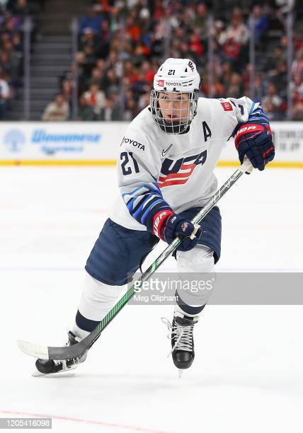 Hilary Knight of the U.S. Women's Hockey Team in the game against the Canadian Women's National Team at Honda Center on February 08, 2020 in Anaheim,...