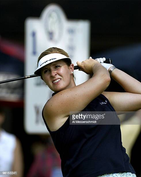 Hilary Lunke, winner of the 2003 U. S. Open, checks her drive on the first hole at the LPGA Jamie Farr Kroger Classic August 15, 2003 in Sylvania,...