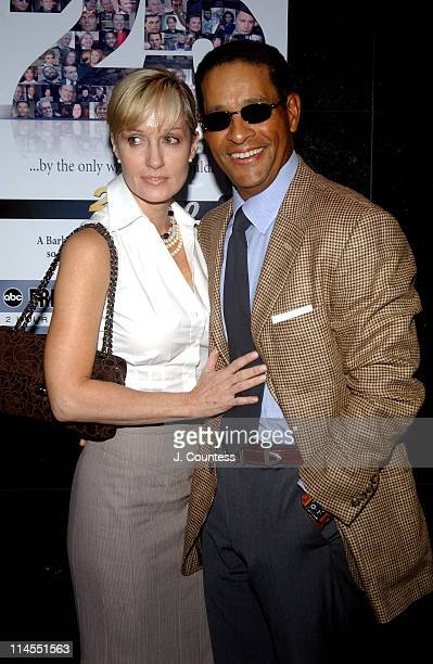 Hilary Quinlan and Bryant Gumbel during ABC News honors Barbara Walters for her 25 years on 20/20 at Times Square Studio in New York City New York...