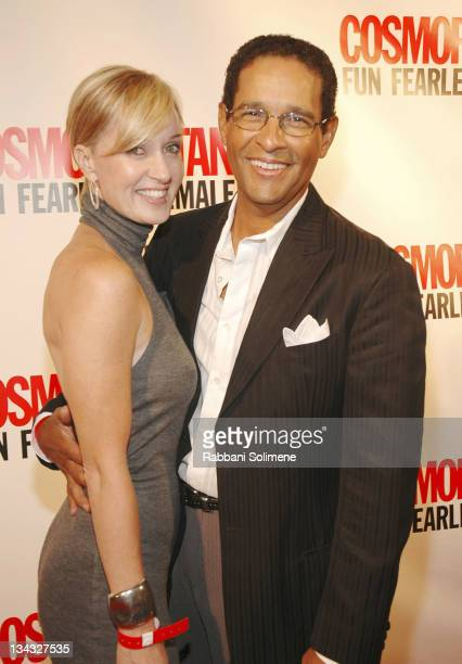 Hilary Quinlan and Bryant Gumbel during Cosmopolitan's 40th Anniversary at Skylight Studio in New York City New York United States