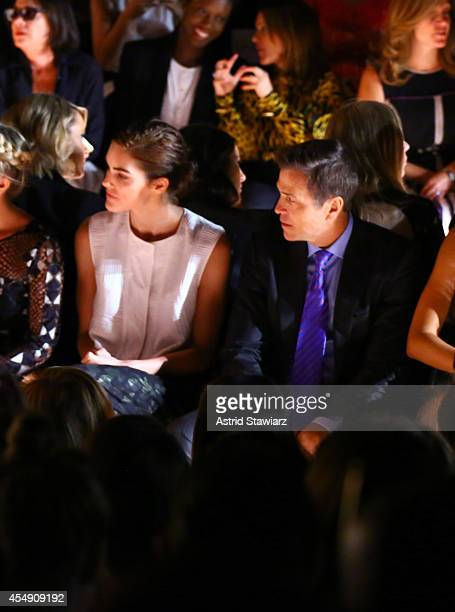 Hilary Rhoda and Patrick Whitesell attend the BCBGMAXAZRIA fashion show during MercedesBenz Fashion Week Spring 2015 at The Theatre at Lincoln Center...