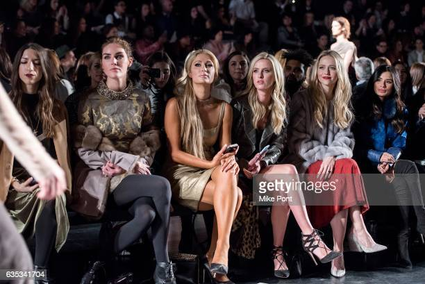 Hilary Rhoda Paris Hilton Nicky Hilton Rothschild Johanna Braddy and Diane Guerrero attend the Dennis Basso collection during New York Fashion Week...