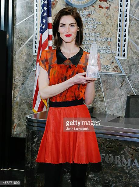 Hilary Rhoda visits the Empire State Building which will be lit red in honor of American Heart Month and National Wear Red Day at The Empire State...