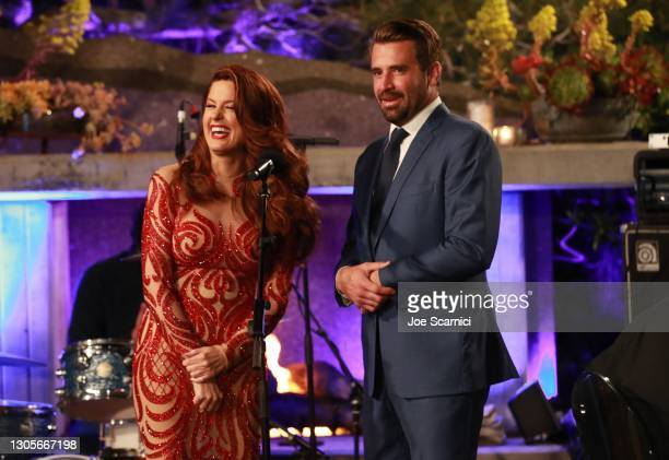 """Hilary Roberts and Jason Wahler speak onstage during a private event with the cast of MTV's """"The Hills"""" hosted by Cure Addiction Now & The Red..."""