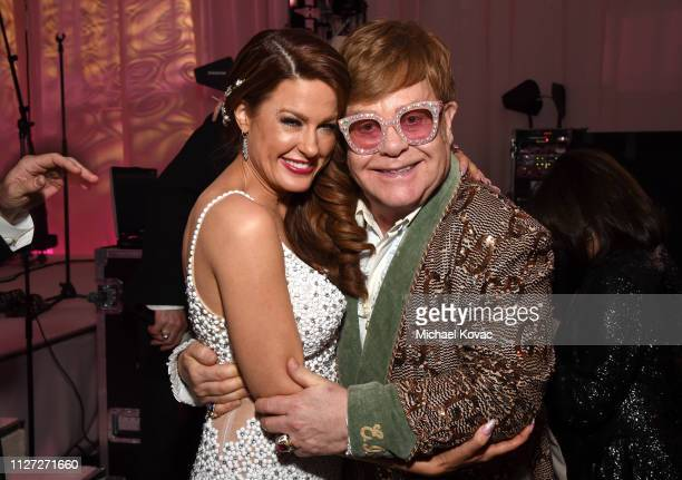 Hilary Roberts and Sir Elton John attend the 27th annual Elton John AIDS Foundation Academy Awards Viewing Party sponsored by IMDb and Neuro Drinks...