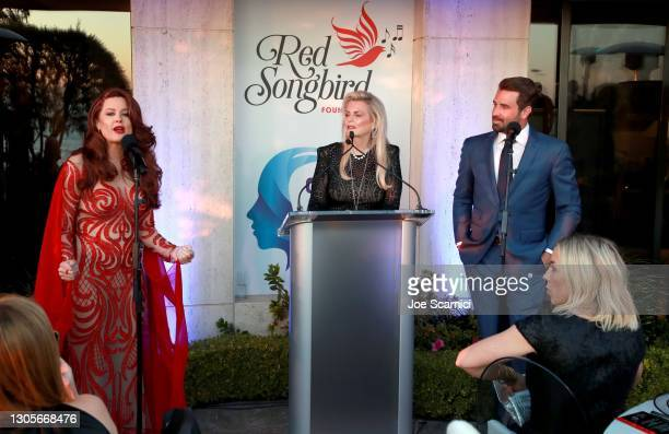 """Hilary Roberts, Nancy Davis, and Jason Wahler speak onstage during a private event with the cast of MTV's """"The Hills"""" hosted by Cure Addiction Now &..."""