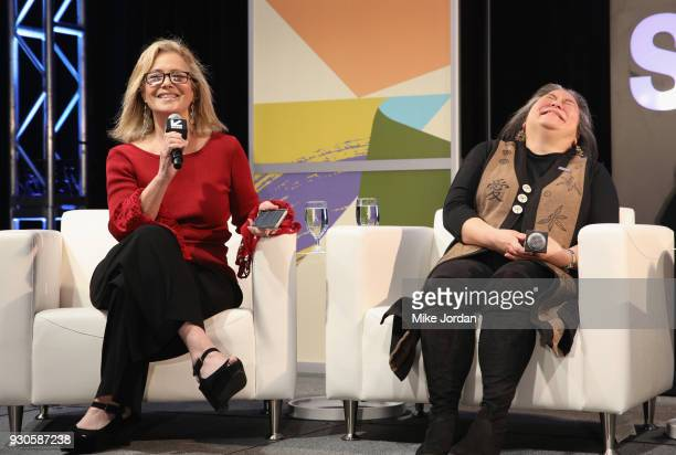 Hilary Rosen and Tina Tchen speak onstage at Time's Up Shifting the Imbalance of Power during SXSW at Austin Convention Center on March 11 2018 in...