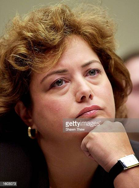 Hilary Rosen President and CEO of the Recording Industry Association of America listens before testifying before the House Committee on Energy and...