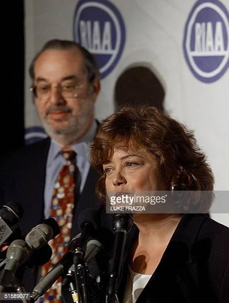 Hilary Rosen president and ceo of the Recording Industry Association of America speaks to reporters 12 February 2001 in Washington DC with record...