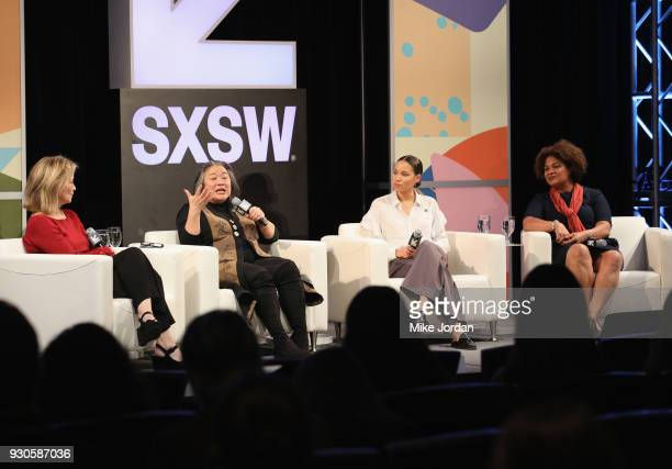 Hilary Rosen Tina Tchen Jurnee SmollettBell and Fatima Goss Graves attend Time's Up Shifting the Imbalance of Power speak onstage at SXSW at Austin...