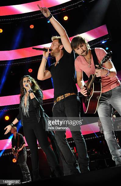 Hilary Scott Charles Kelley and Dave Haywood of Lady Antebellum perform during the 2012 CMA Music Festival Day 1 at LP Field on June 7 2012 in...