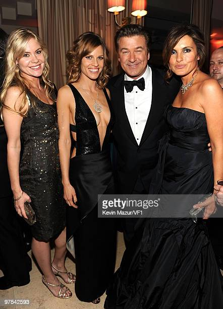 WEST HOLLYWOOD CA MARCH 07 *EXCLUSIVE* Hilary Swank Alec Baldwin and Mariska Hargitay attends the 2010 Vanity Fair Oscar Party hosted by Graydon...