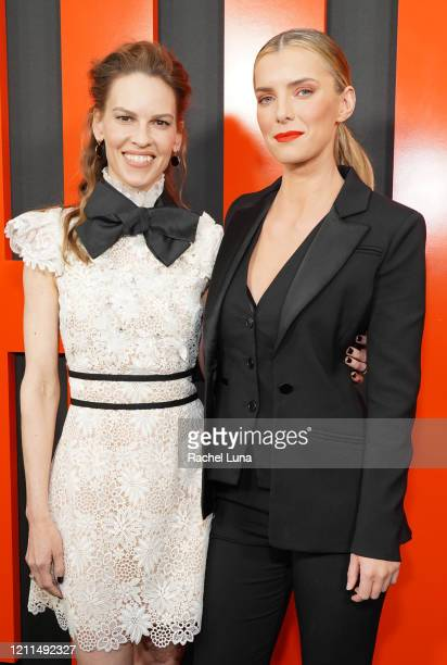 "Hilary Swank and Betty Gilpin attend the premiere of Universal Pictures' ""The Hunt"" at ArcLight Hollywood on March 09, 2020 in Hollywood, California."