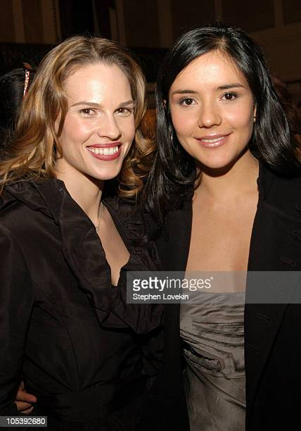 Hilary Swank and Catalina Sandino Moreno during The 70th Annual New York Film Critcs Circle Awards Inside at The Roosevelt Hotel in New York City New...
