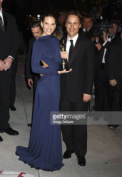 Hilary Swank and Chad Lowe during 2005 Vanity Fair Oscar Party Arrivals at Mortons in Los Angeles California United States