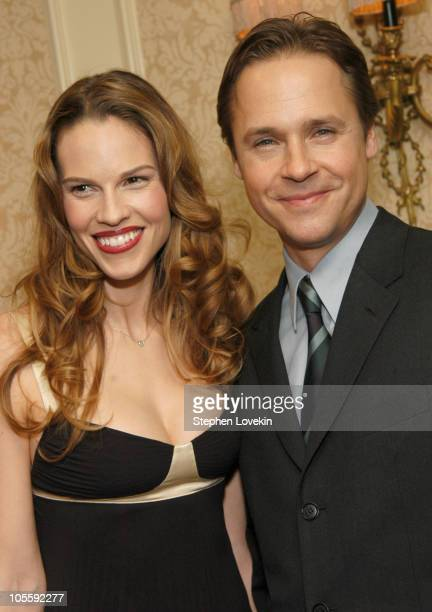 Hilary Swank and Chad Lowe during The 70th Annual New York Film Critcs Circle Awards Inside at The Roosevelt Hotel in New York City New York United...