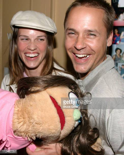 Hilary Swank and Chad Lowe with Kate Monster during Hilary Swank and Chad Lowe Visit Backstage at Avenue Q on Broadway at The John Golden Theater in...