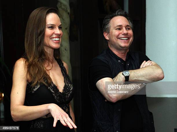 Hilary Swank and Jason Binn attend DuJour Magazine's Jason Binn Celebrates Annual Art Basel Miami Beach KickOff Party at Delano Beach Club on...