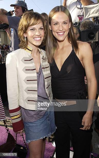 Hilary Swank and Jennifer Garner during 2002 MTV Movie Awards Arrivals at Shrine Auditorium in Los Angeles California United States