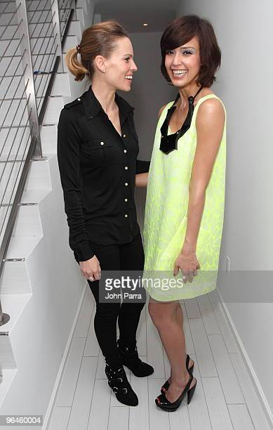 Hilary Swank and Jessica Alba attend the Superbowl XLIV with Audi at the W Hotel - South Beach on February 5, 2010 in Miami Beach, Florida.