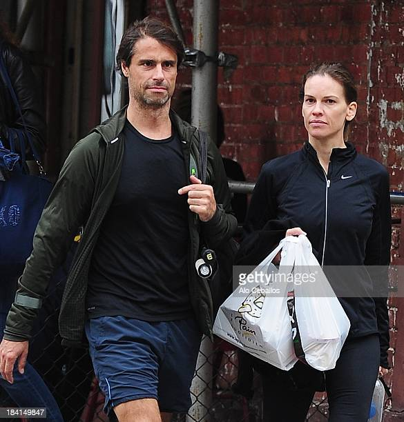 Hilary Swank and Laurent Fleury are seen in the West Village on October 11 2013 in New York City