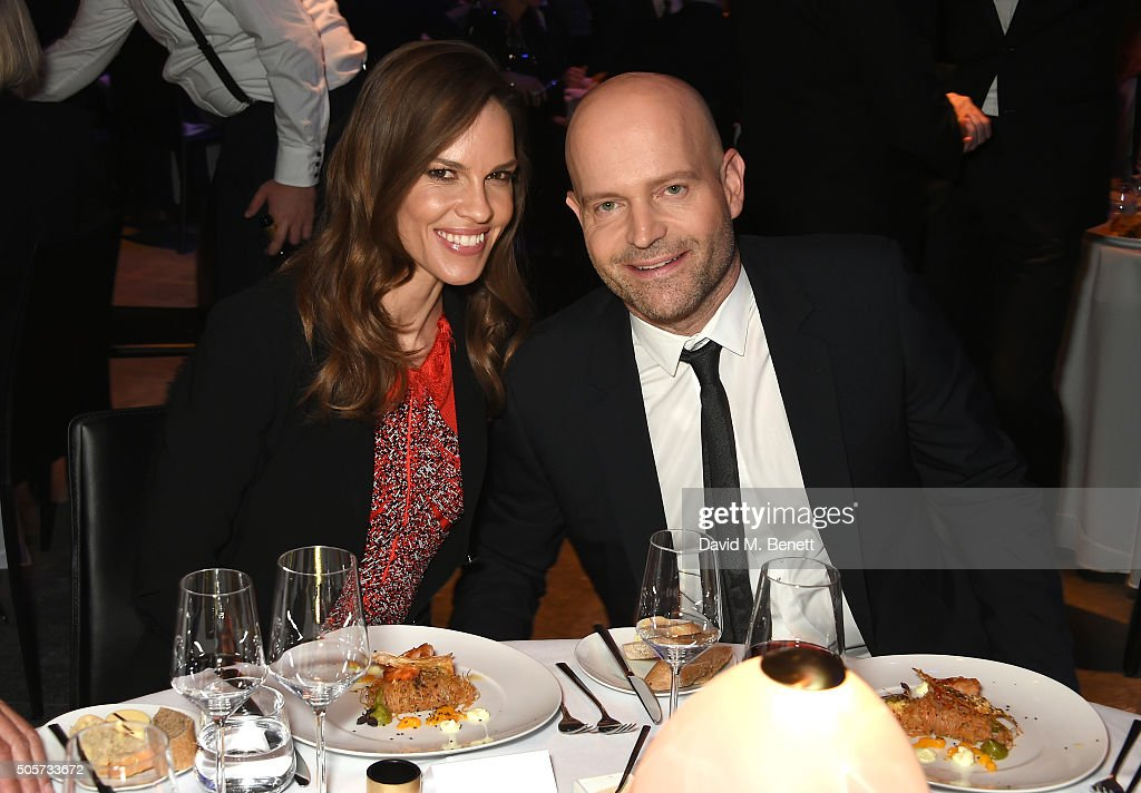 Hilary Swank and Marc Forster attend the IWC 'Come Fly with us' Gala Dinner during the launch of the Pilot's Watches Novelties from the Swiss luxury watch manufacturer IWC Schaffhausen at the Salon International de la Haute Horlogerie (SIHH) 2016 on January 19, 2016 in Geneva, Switzerland.