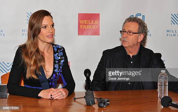 Hilary Swank and Mark Fishkin at the opening night press conference for the Mill Valley Film Festival on October 2 2014 in Mill Valley California...