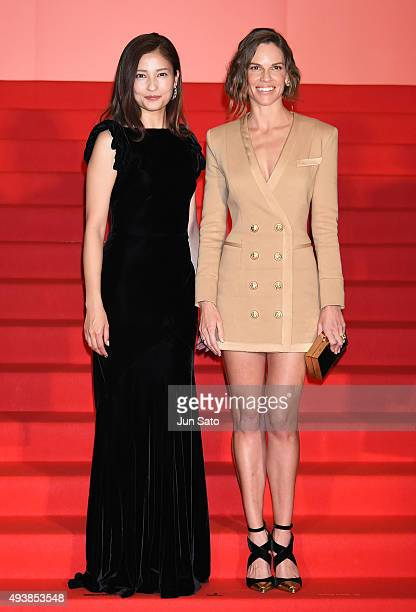Hilary Swank and Meisa Kuroki attend the stage greeting for 'You're Not You' Stage Greeting during the Tokyo International Film Festival 2015 at...
